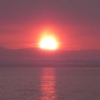 海に沈む釧路の夕日